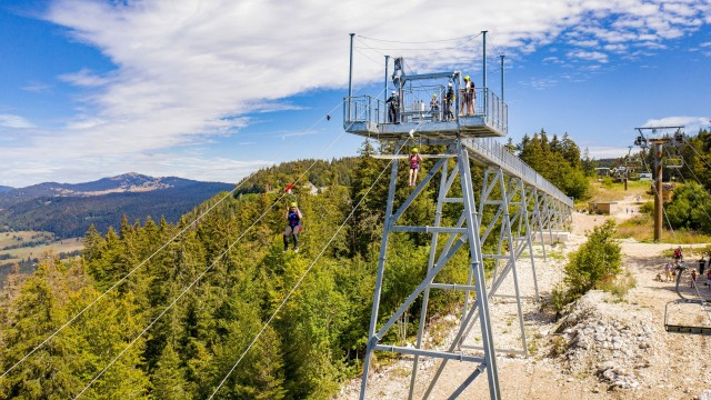 La tyrolienne du Col de la Faucille